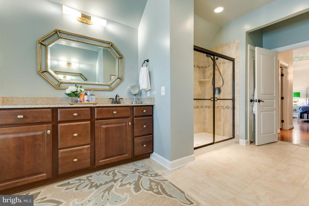 Master bathroom dual vanities and separate shower - 25401 JUBILANT DR, ALDIE