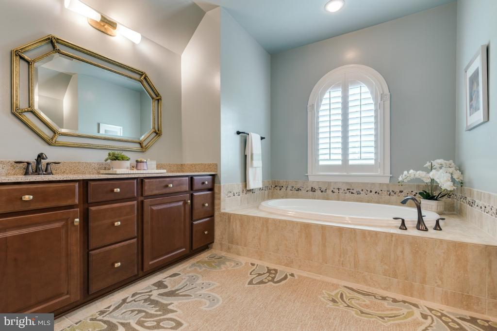Master bath with separate vanities and tub - 25401 JUBILANT DR, ALDIE