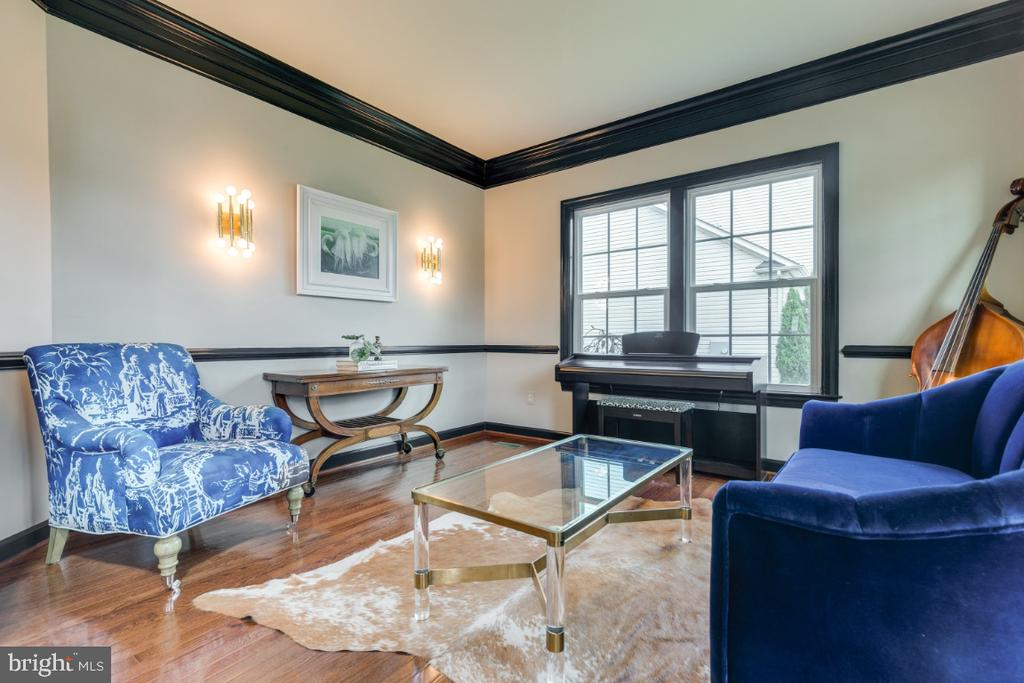 Custom crown and chair molding in living room - 25401 JUBILANT DR, ALDIE