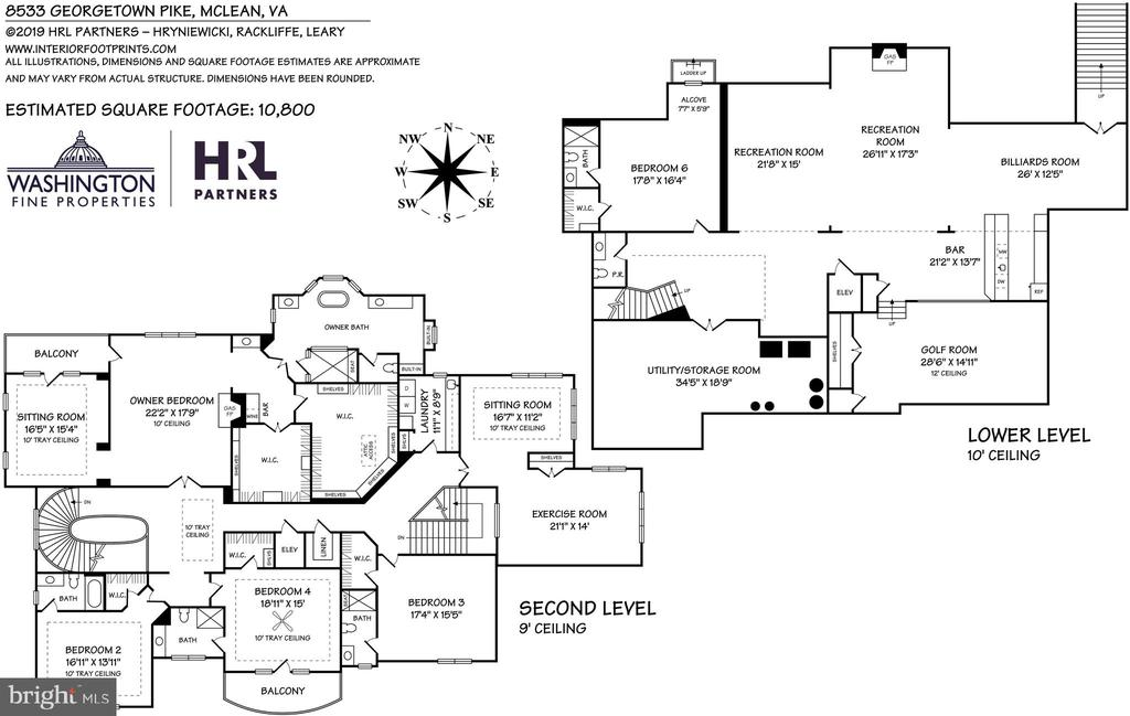 Second and Lower Level Floor Plans - 8533 GEORGETOWN PIKE, MCLEAN