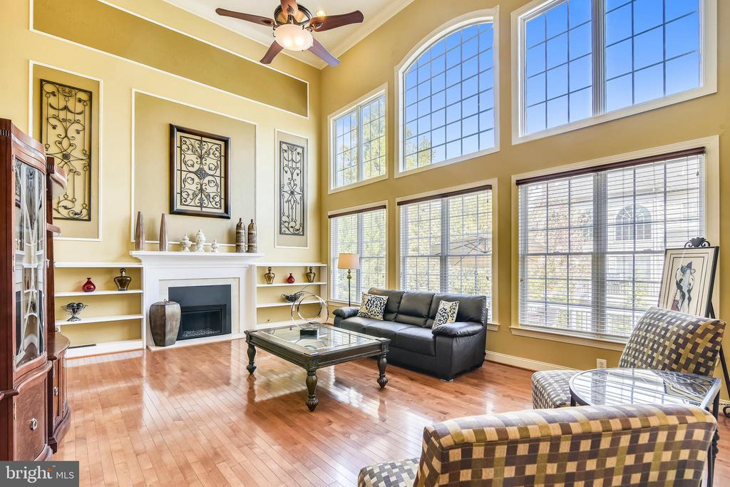 Family room w/wall of windows & gas fireplace - 20190 KIAWAH ISLAND DR, ASHBURN