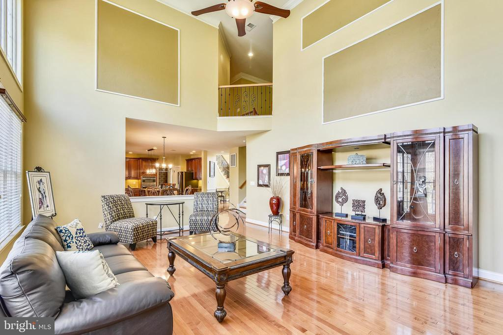 2 story ceiling in family room w/ceiling fan - 20190 KIAWAH ISLAND DR, ASHBURN
