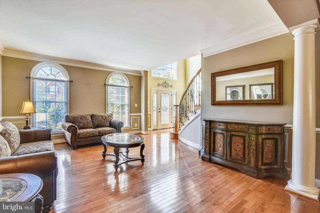 Living room w/crown moulding & hardwood floors - 20190 KIAWAH ISLAND DR, ASHBURN