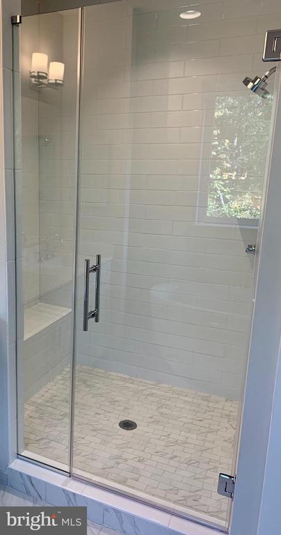 Frameless Shower Door in Master Bathroom - 4904 TRAIL VISTA LN, CHANTILLY