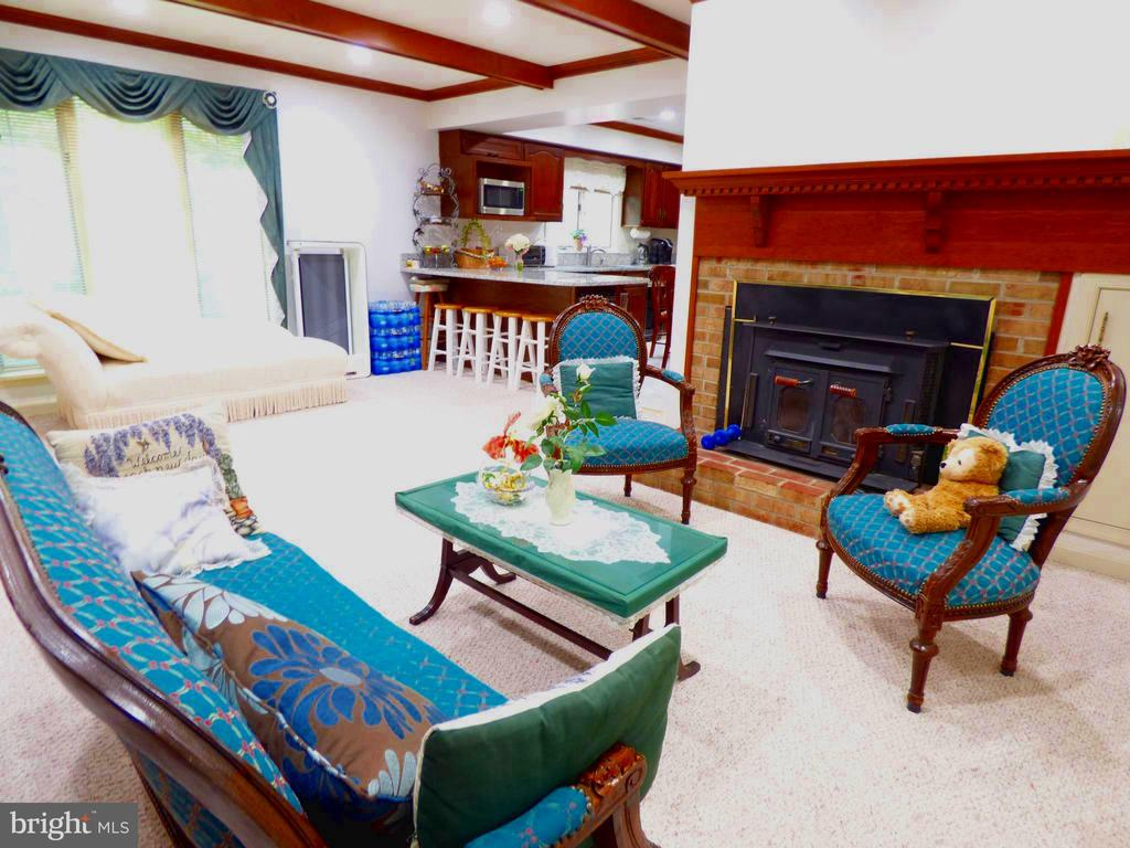 Family Room with wood burning stove insert - 12219 CHAPEL RD, CLIFTON