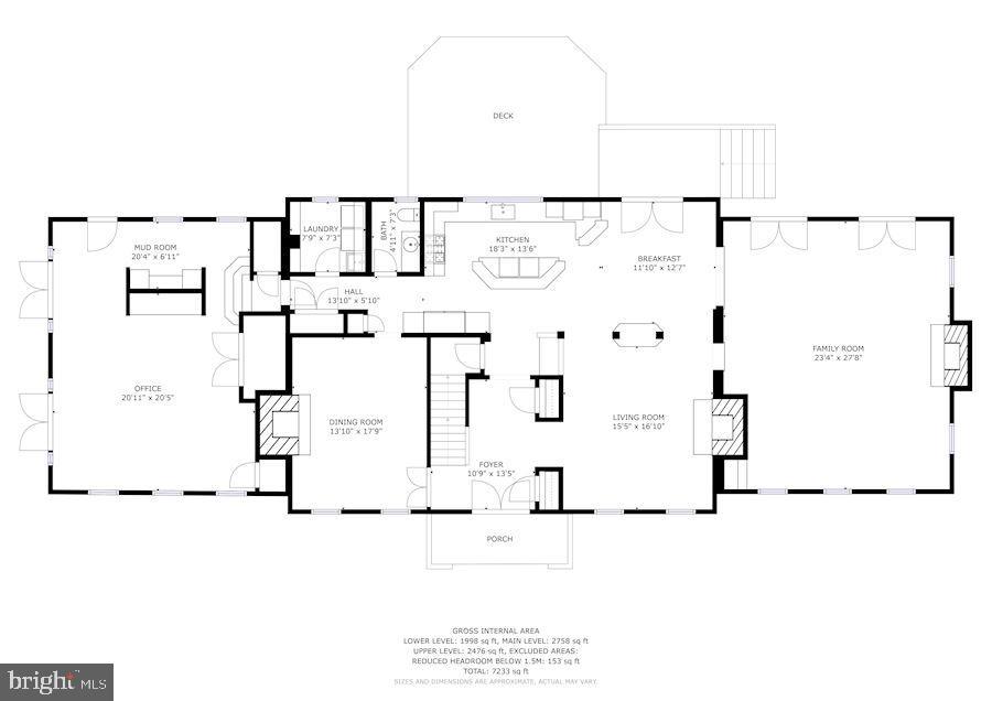 Main Level Floor Plan - 12580 HALL SHOP RD, FULTON