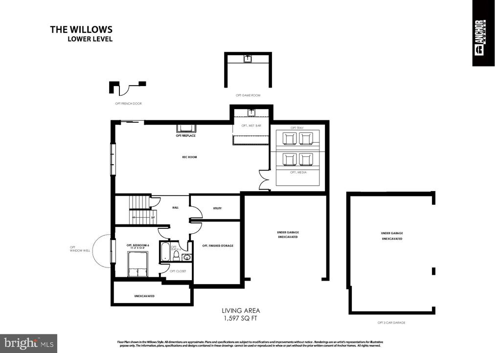 Basement Floor Plan with Options - 7015 WOODLAND DR, SPRINGFIELD