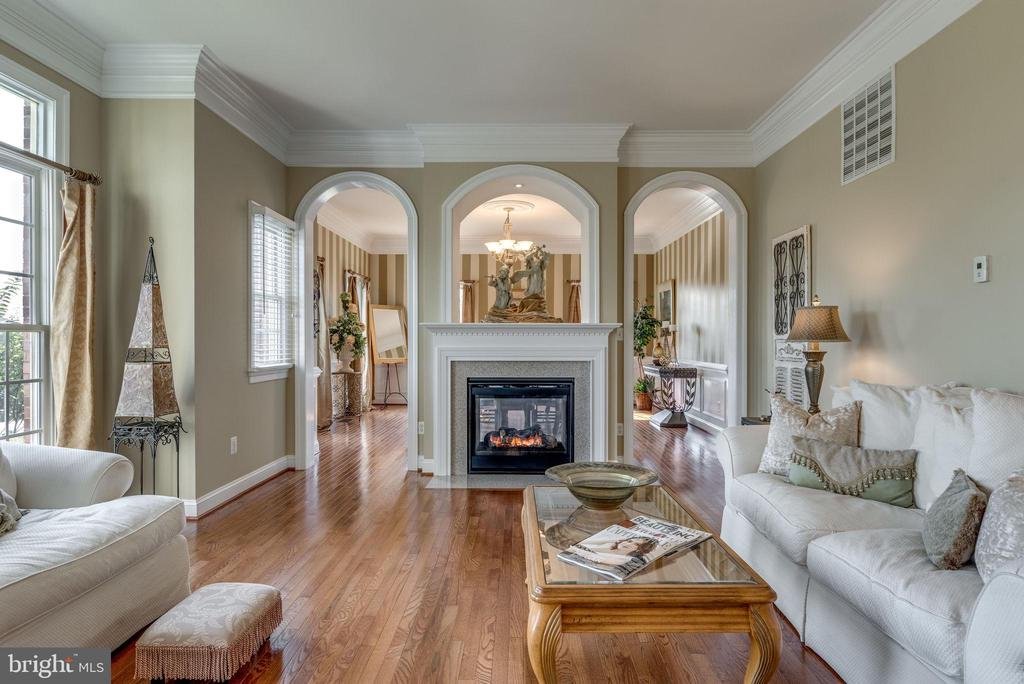 Living room with crown moulding and gas fireplace - 19607 ABERLOUR LN, LEESBURG