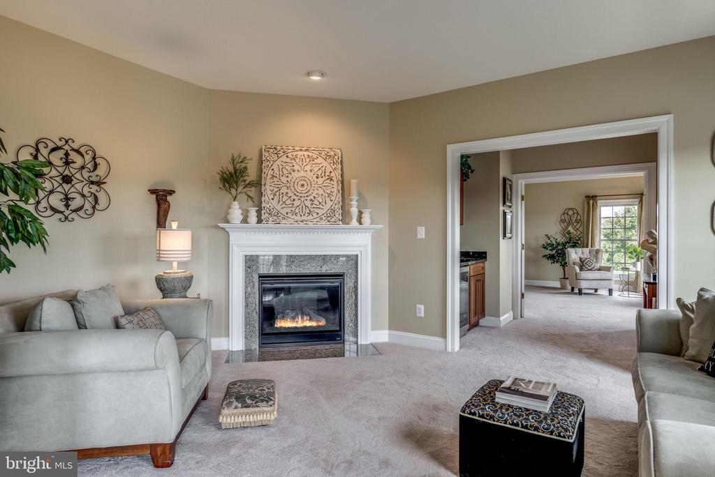 Master Suite sitting room with 3rd gas fireplace - 19607 ABERLOUR LN, LEESBURG