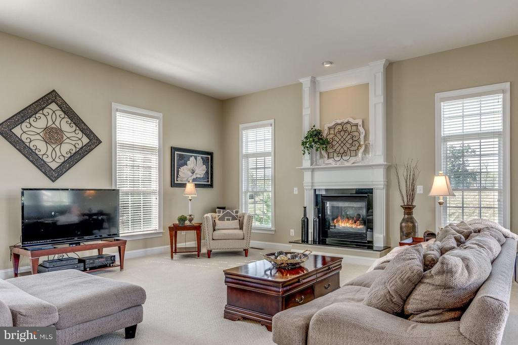 Family room with 2nd gas fireplace - 19607 ABERLOUR LN, LEESBURG