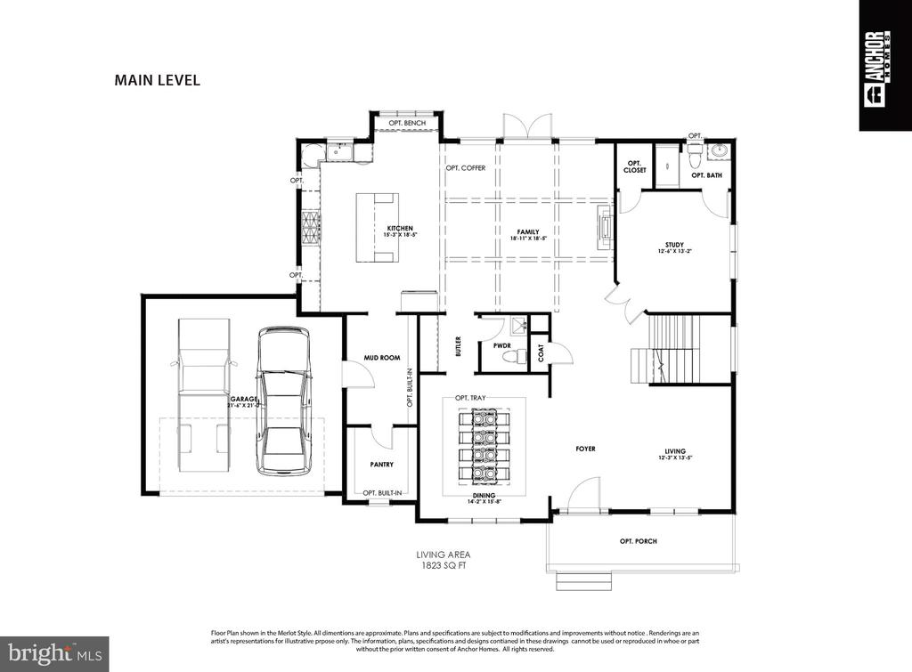 Merlot Model 1st Floor Plan - 822 18TH ST S, ARLINGTON