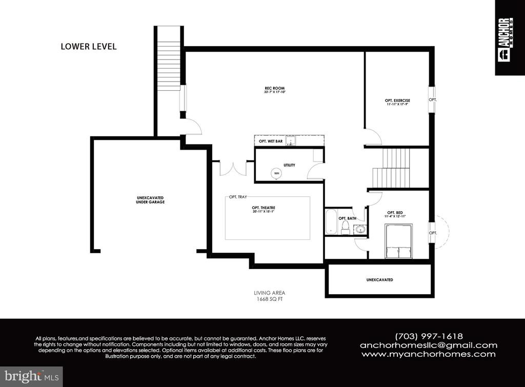 Merlot Model Basement Floor Plan - 822 18TH ST S, ARLINGTON