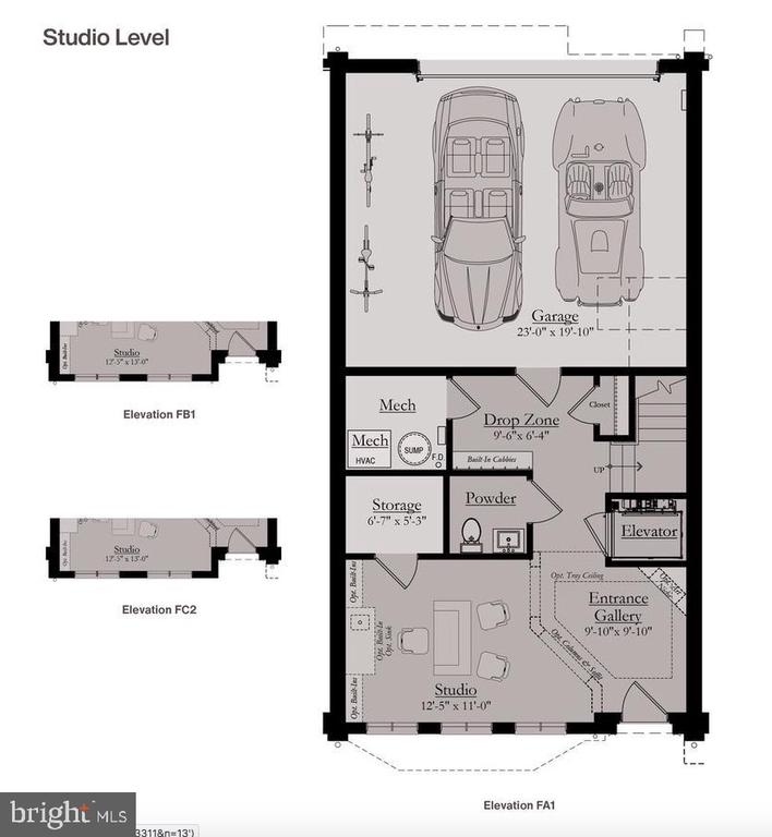 Entry/Studio Level Floor Plan - 8213 RIVER ROAD, BETHESDA