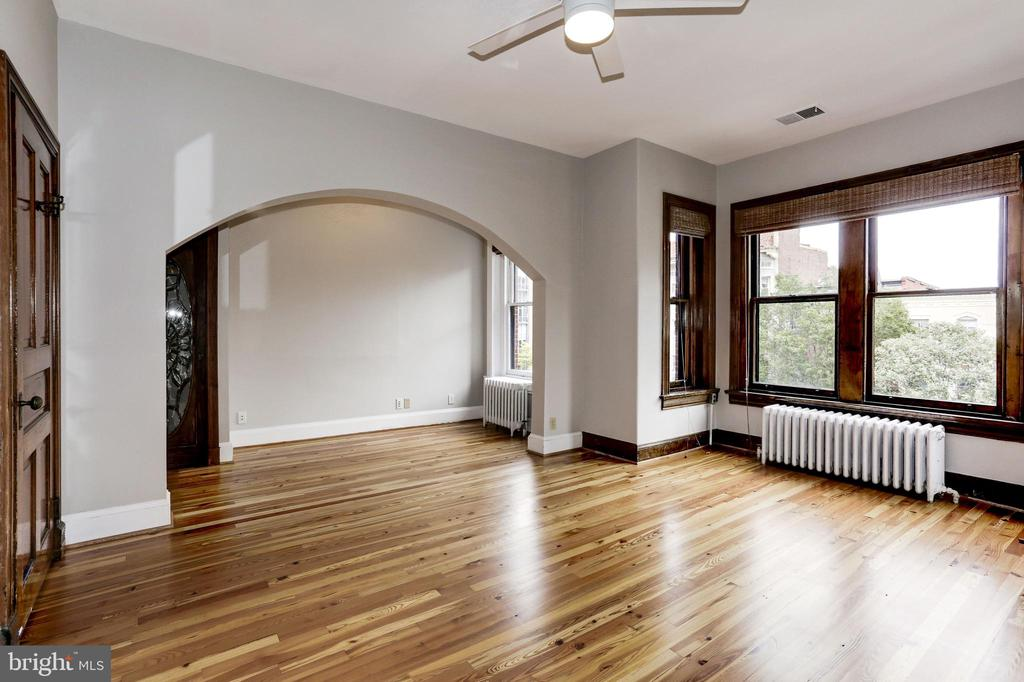New pinewood floors in the spacious third  bedroom - 1410 15TH ST NW, WASHINGTON