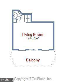 Living room floor plan - 1401 N OAK ST #307, ARLINGTON