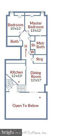 Kitchen/bedroom level floor plan - 1401 N OAK ST #307, ARLINGTON