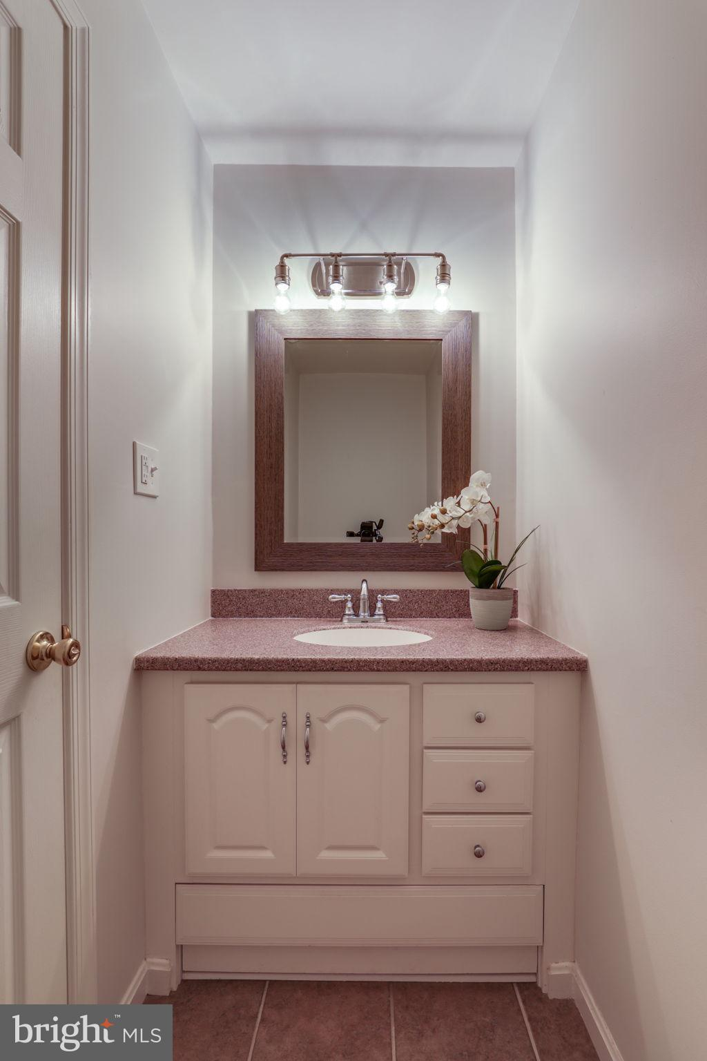 remodeled powder room on first floor