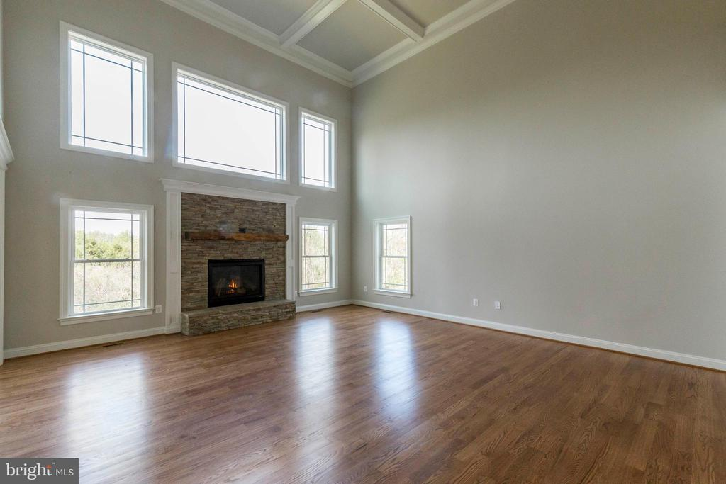 2 story family room with coffered ceiling details. - 1522 CROWELL RD, VIENNA