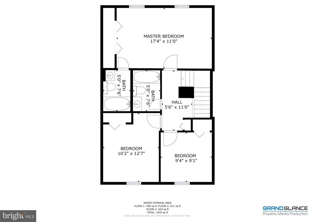 Upper level layout - 4449 HOLLY AVE, FAIRFAX