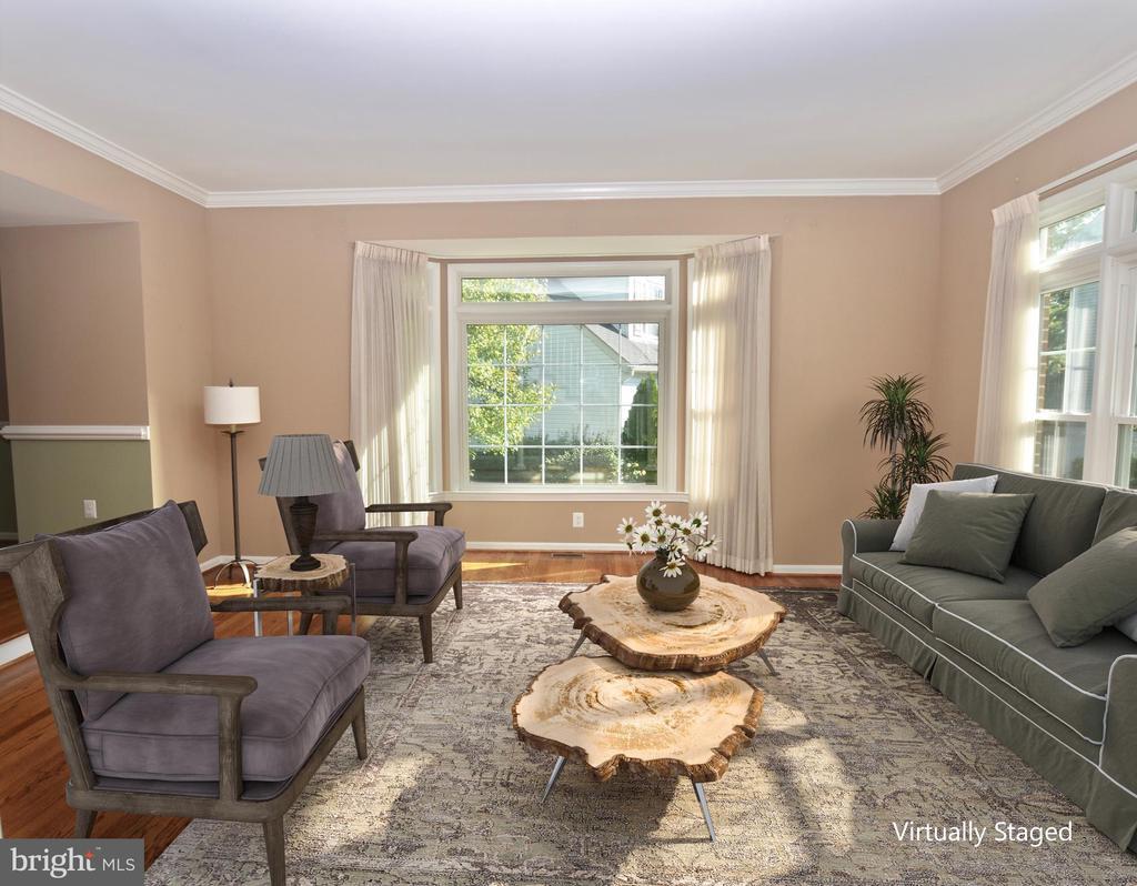 Elegant living room  - virtually staged - 46432 MONTGOMERY PL, STERLING