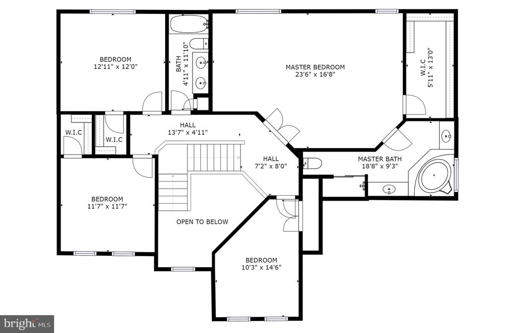 Upper level floorplan - 709 TONQUIN PL NE, LEESBURG