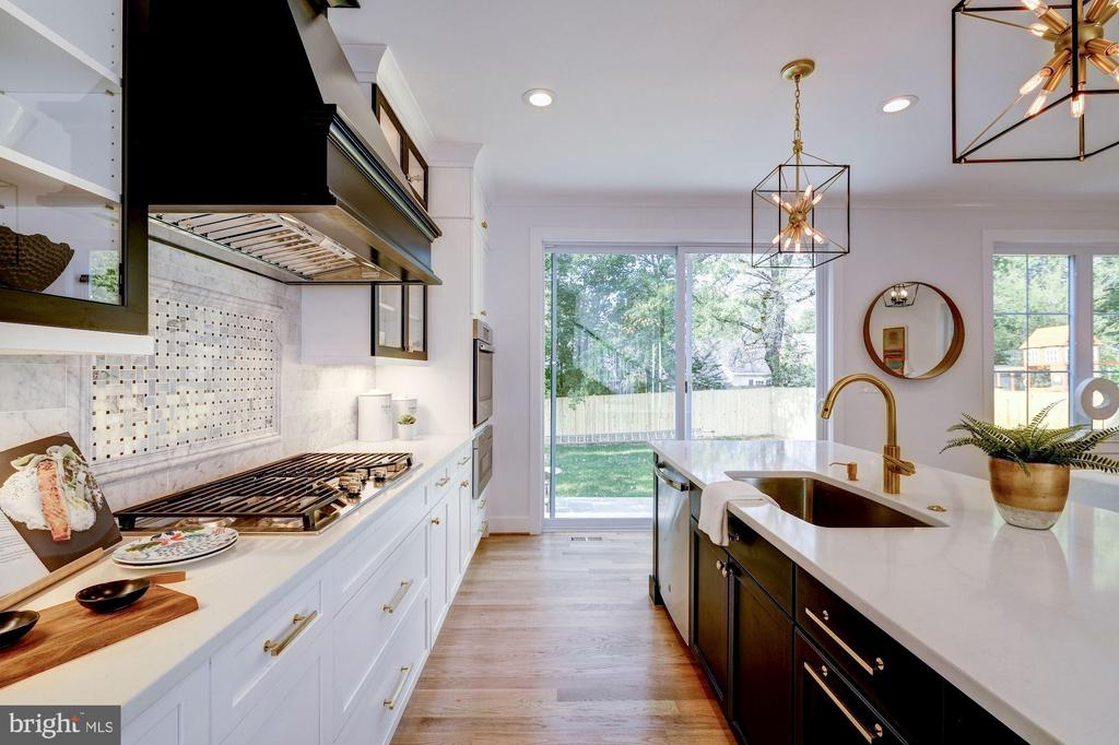 Black and White Kitchen with Gold Accents - 9506 SEMINOLE ST, SILVER SPRING