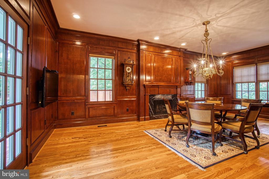 Custom cherry library with gas fireplace - 3812 MILITARY RD, ARLINGTON