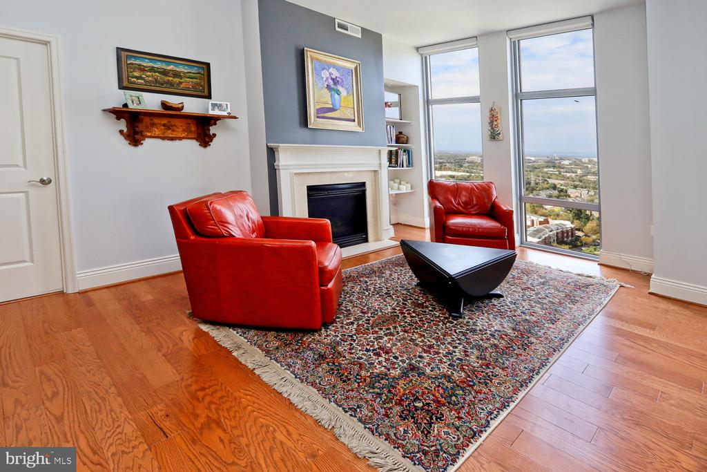 Gas fireplace in the living room area - 11990 MARKET ST #1914, RESTON