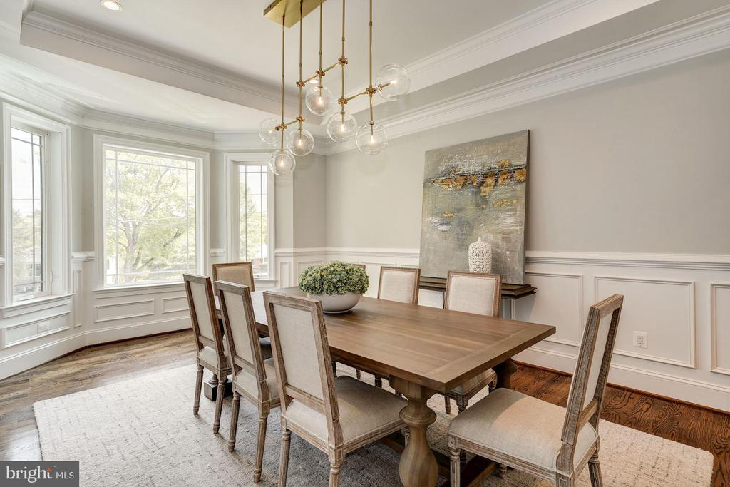 Chic dining room w/ Restoration Hardware fixture - 932 DEAD RUN DR, MCLEAN