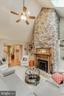 Stone wood fireplace with built in shelving - 8240 EDGEWOOD CHURCH RD, FREDERICK