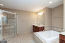 Master bath with large shower, his and her vanites - 11 DARDEN CT, STAFFORD