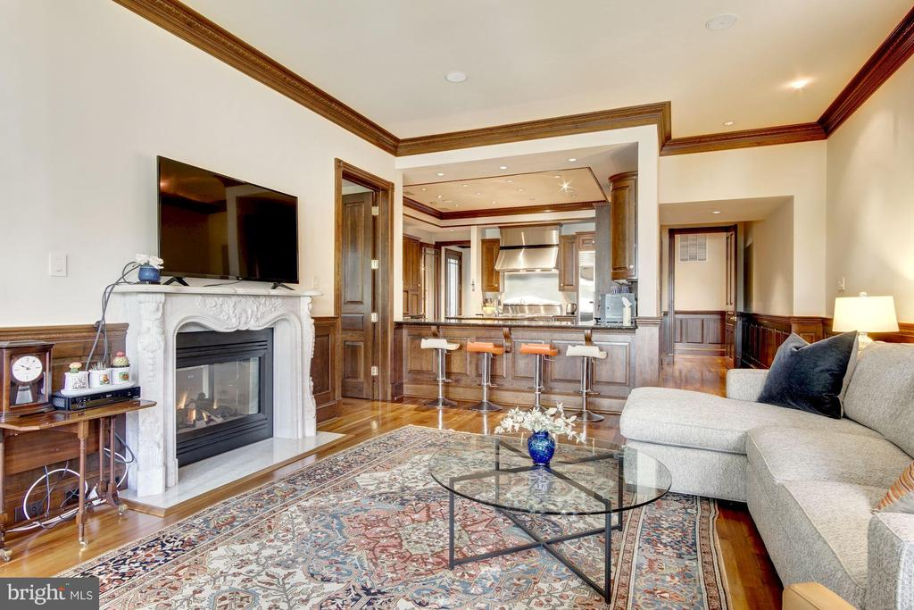 Family room with fireplace - 3036 WOODLAND DR NW, WASHINGTON