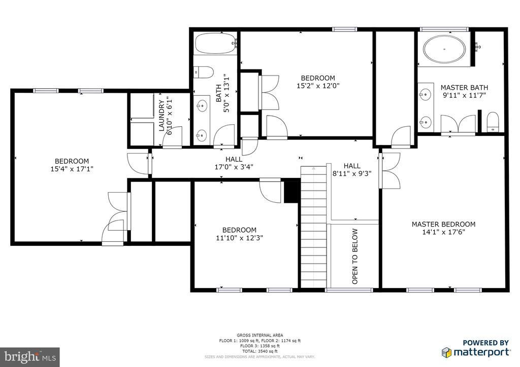 Upper level floor plan - 9355 DEVILBISS BRIDGE RD, WALKERSVILLE