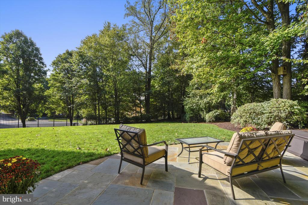 Flagstone patio overlooks expansive fenced yard - 10680 ALLIWELLS CT, OAKTON