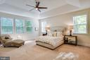 Main-level master suite with a tray ceiling - 11206 VALOR BRIDGE DR, SPOTSYLVANIA