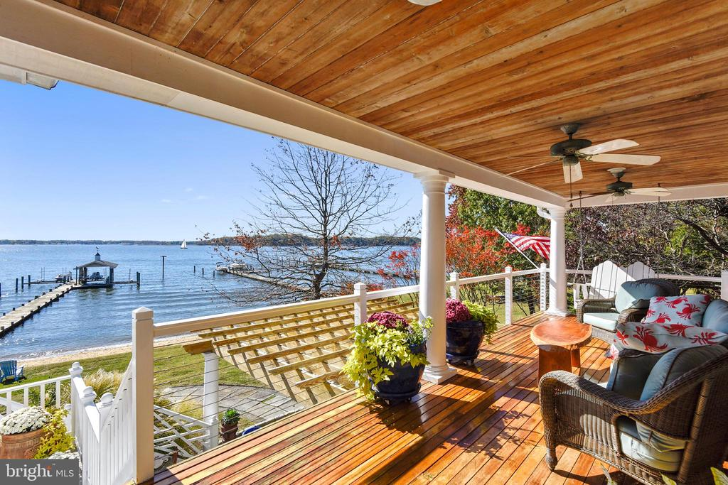 Covered rear porch with hardwood floor & ceiling - 1 DEMYAN DR, ANNAPOLIS