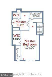 Top Floor Floorplan - Master Suite - 908 N CLEVELAND ST, ARLINGTON