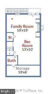 Lower Level Floorplan - Storage, Bath, Rec Room - 908 N CLEVELAND ST, ARLINGTON
