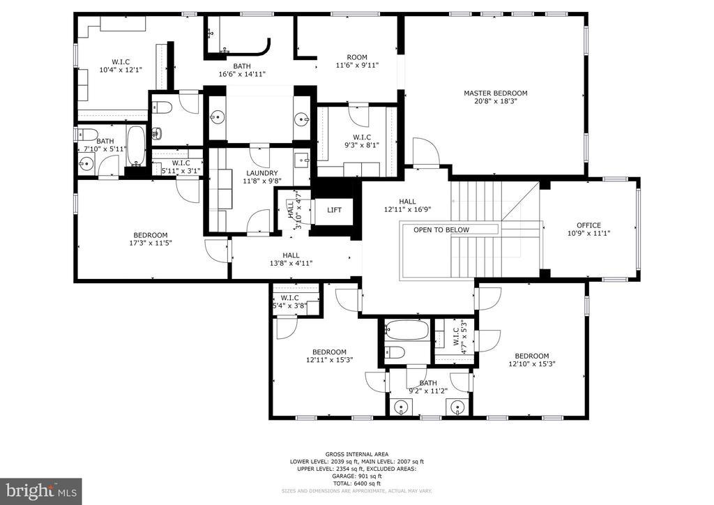 Upper Level Floor Plan - 4830 CASTLEBRIDGE RD, ELLICOTT CITY