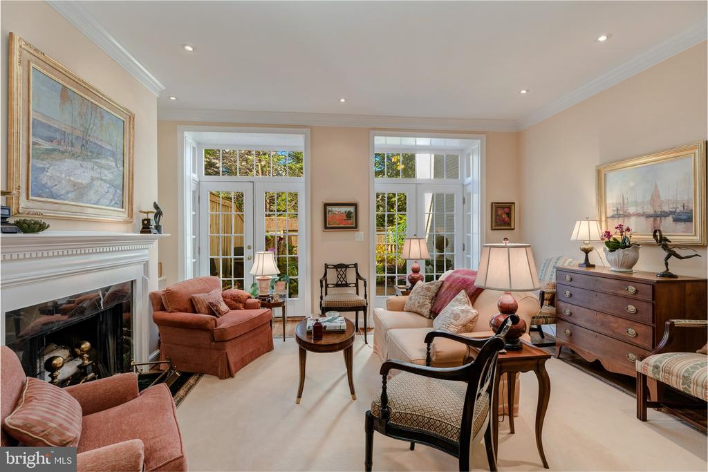 Living Room with fireplace~& French doors to patio - 4366 WESTOVER PL NW, WASHINGTON