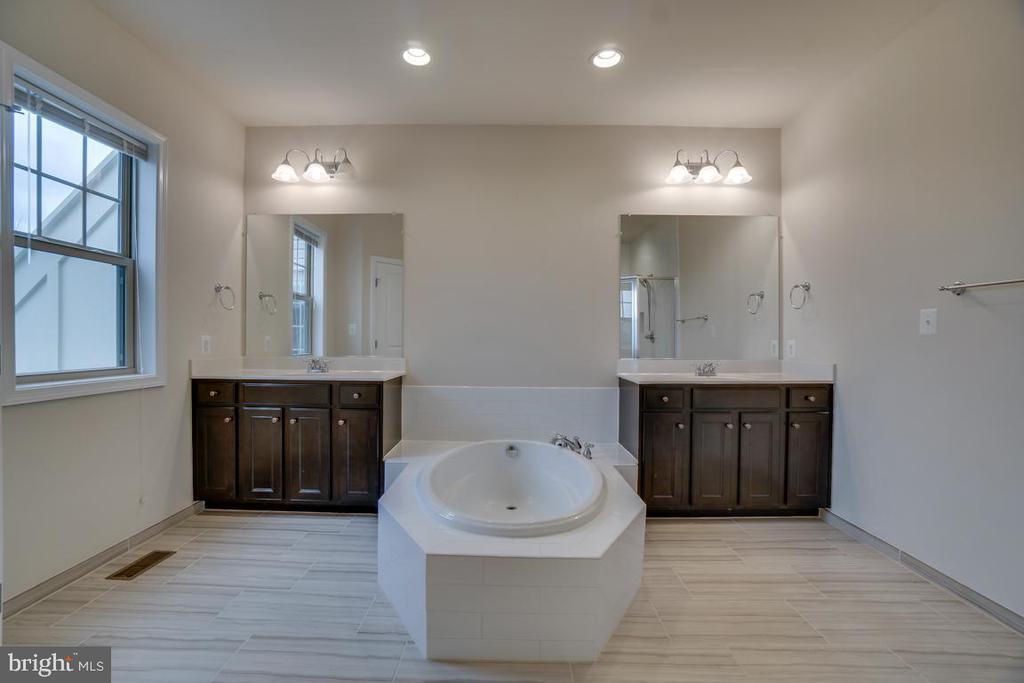 Dual espresso vanities with a deep soaking tub - 42560 DREAMWEAVER DR, BRAMBLETON