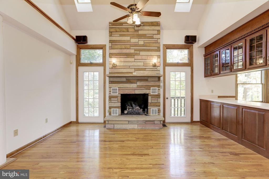 Family Room with Stone Fireplace - 7028 HUNTER LN, HYATTSVILLE