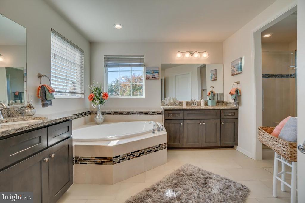 Master bathroom with soaking tub and shower - 15 LIBERTY KNOLLS DR, STAFFORD