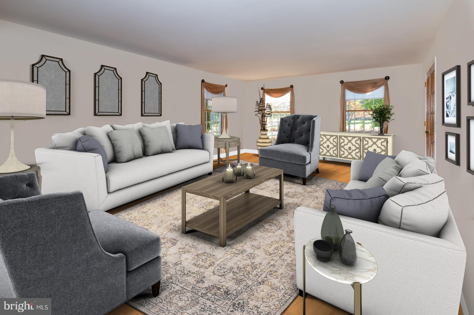 Elegant and Spacious Living Rm (virtually staged)