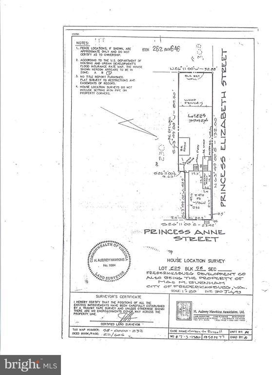 Survey prior to garage construction - 232 PRINCESS ANNE ST, FREDERICKSBURG
