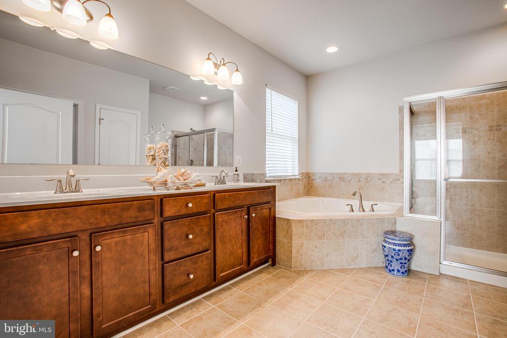 Master Bath--double sink, tub and large shower - 9808 BALLS BLUFF DR, FREDERICKSBURG