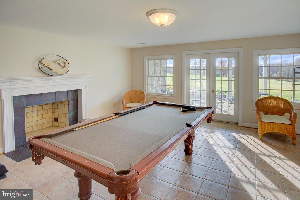 Lower level family room w/ wood burning fireplace - 19771 GREGGSVILLE RD, PURCELLVILLE
