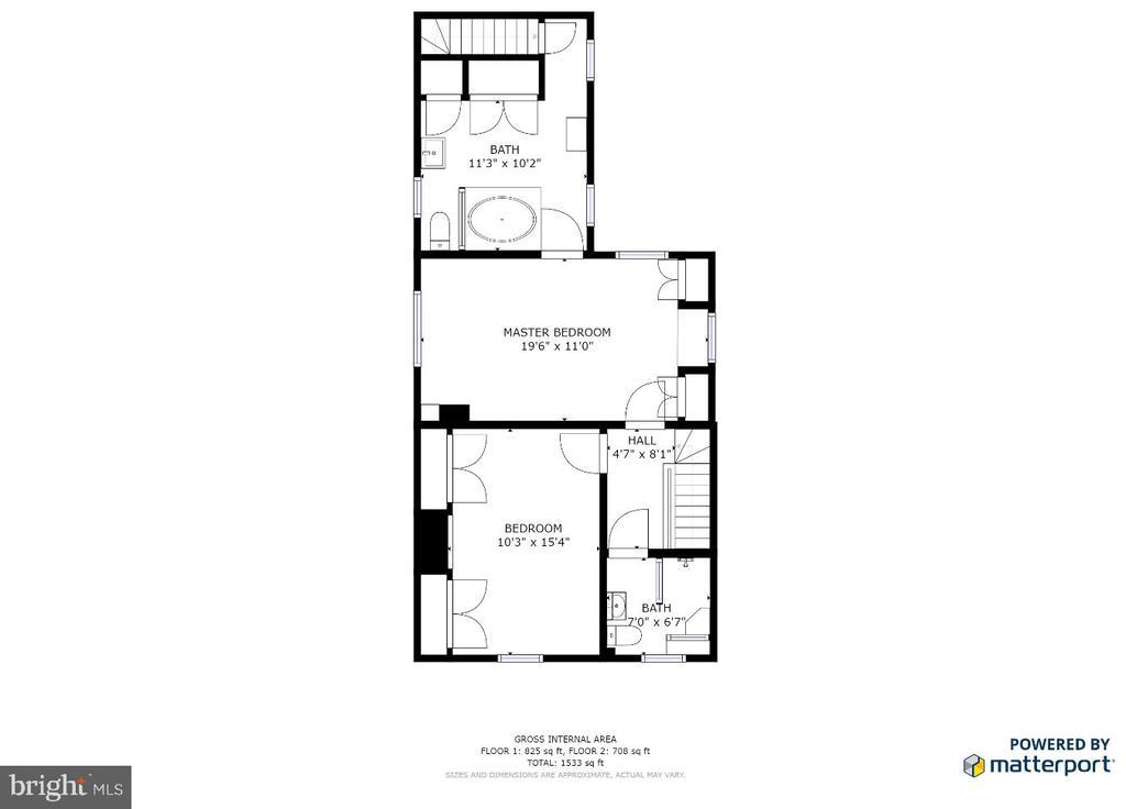 Second level floor plan - 232 PRINCESS ANNE ST, FREDERICKSBURG
