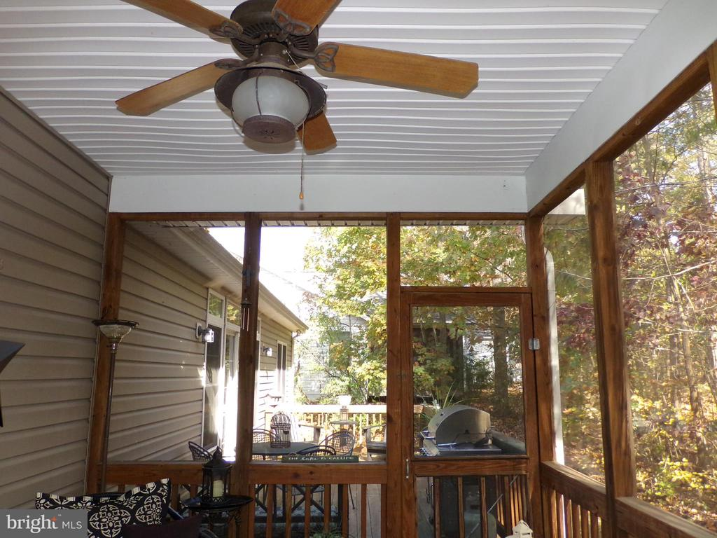 Screened porch with ceiling fan leads to back deck - 239 WASHINGTON ST, LOCUST GROVE