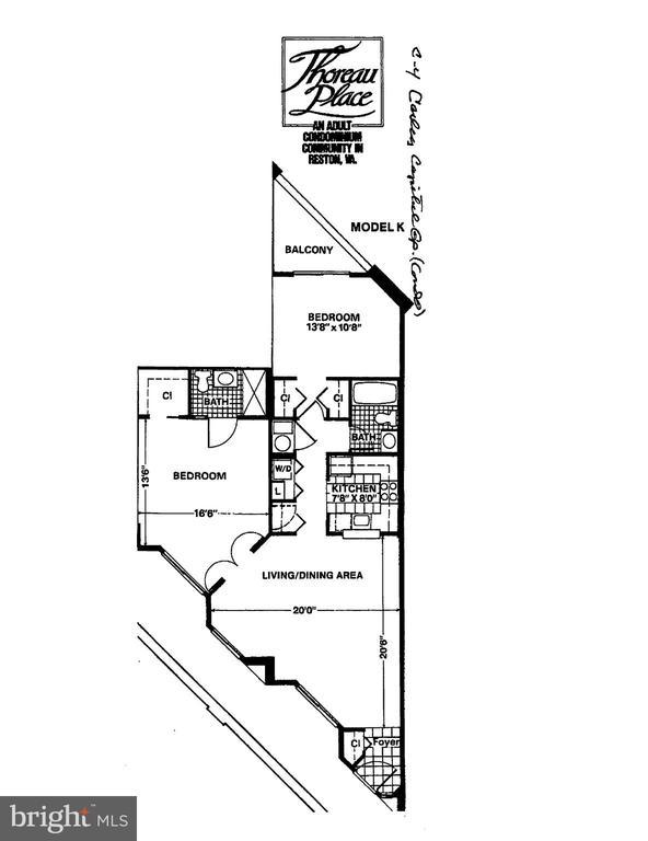 Floor Plan - 2 Bedrooms, 2 Full Bathrooms, Sunroom - 1951 SAGEWOOD LN #203, RESTON